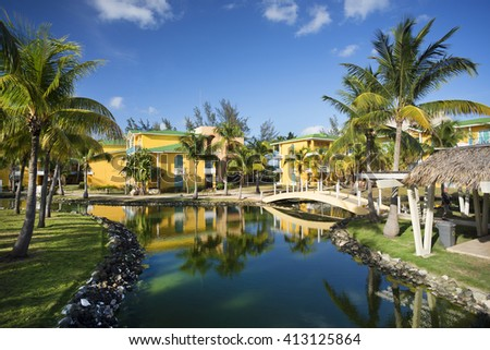 CUBA, VARADERO RESORTS - APRIL 11, 2016: Famous beaches and tourist resorts of Hicacos peninsula are world wide famous. The area is located in the province of Matanzas the largest resorts in Caribbean - stock photo