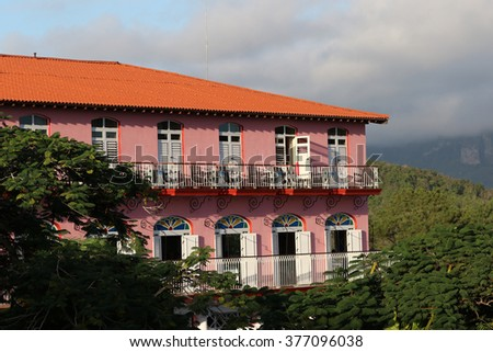 Cuba, Vinales, red house - stock photo