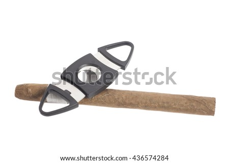 Cuban cigar and a cutter isolated on white background - stock photo