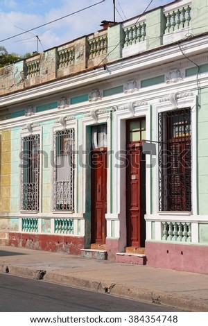 Cuban colonial architecture - Old Town of Cienfuegos (UNESCO World Heritage Site). Residential buildings.