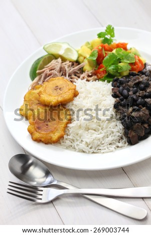 cuban cuisine, arroz con frijoles negros - stock photo
