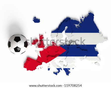 Cuban flag on European map with national borders, isolated on white background