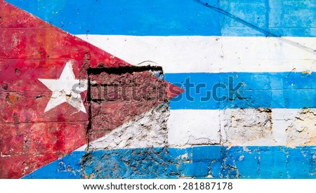 Cuban flag painted on a grunge old wall in Havana - stock photo