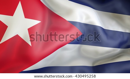 Cuban flag waving in the wind 3d rendering - stock photo