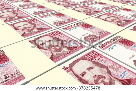 Cuban pesos bills stacks background. Computer generated 3D photo rendering.