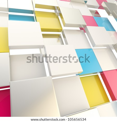 Cube abstract copyspace background made of cmyk colored glossy shiny plates - stock photo