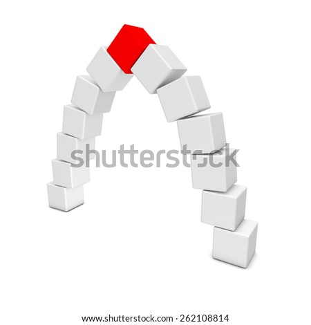 Cube arch with a red keystone - stock photo