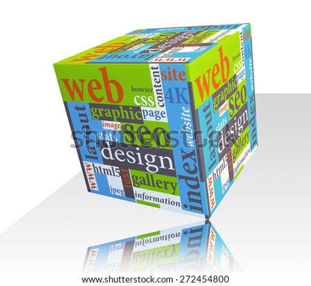 Cube as web design concept - stock photo