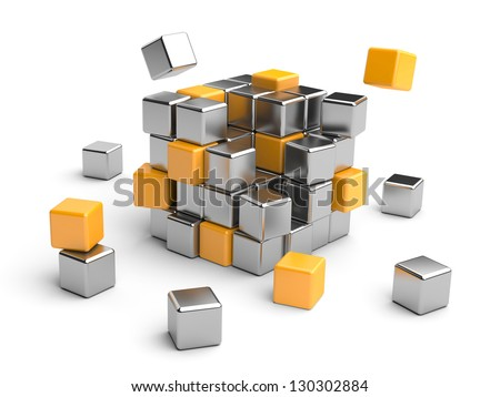 Cube assembling from blocks. 3D Illustration isolated on white