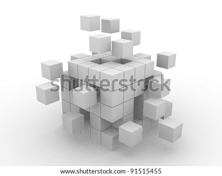 Cube assembling from blocks. This is a 3d render illustration - stock photo
