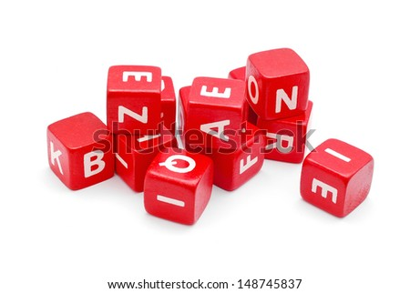cube blocks with letters on white