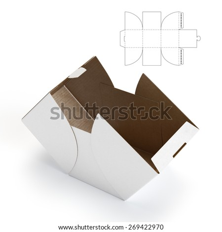 Cube Box with Die-line Template - stock photo
