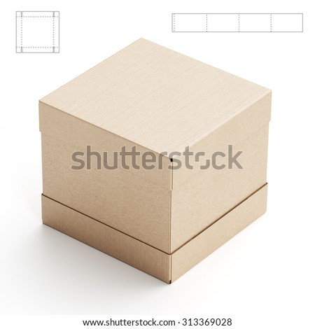 Cube Box with Top and Bottom Lid and Die Line Blueprint