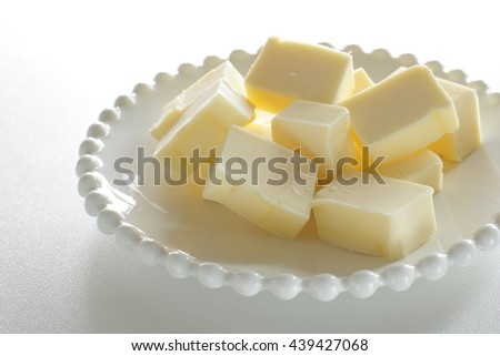 cube butter prepared for bakery