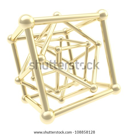 Cube carcass golden framework composition isolated on white as scientific abstract background - stock photo