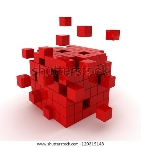 cube chaos - 3d render on white - stock photo