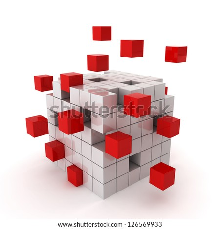 cube chaos - 3d render on white