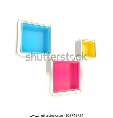Cube copyspace shelves cmyk colored, bright and glossy isolated on white as abstract background - stock photo