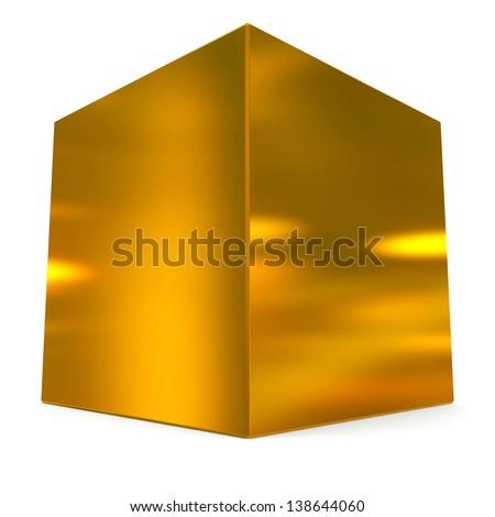 cube 3d golden - stock photo