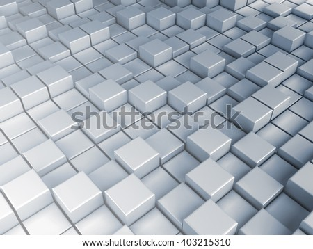 Cube extruded background, 3d illustration.