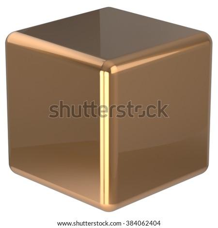 Cube geometric shape dice block basic box solid square brick figure simple minimalistic element single yellow golden shiny blank object. 3d render isolated - stock photo