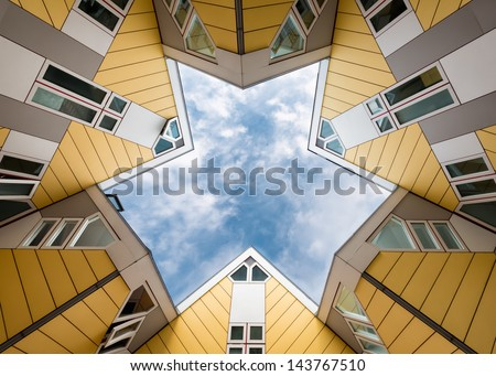 Cube houses in Rotterdam, Netherlands - stock photo