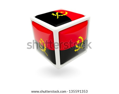 Cube icon of flag of angola isolated on white