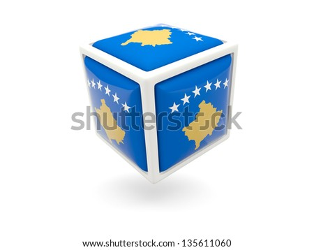 Cube icon of flag of kosovo isolated on white