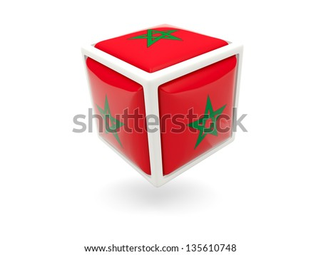 Cube icon of flag of morocco isolated on white
