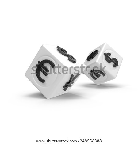 Cube money currency symbols on a white background - stock photo