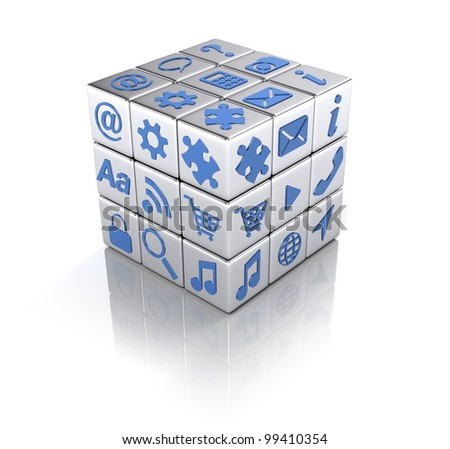 Cube of apps icons isolated on white - Applications concept - stock photo