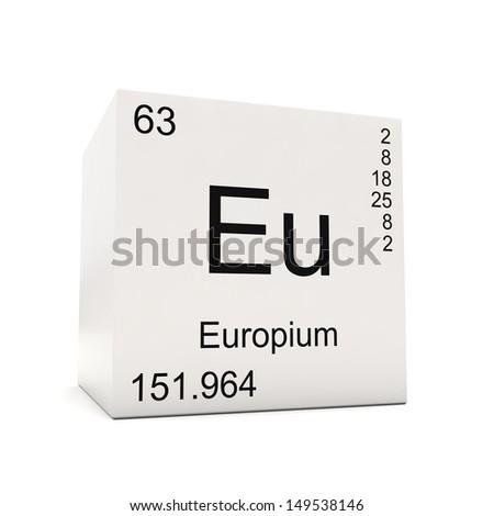 Cube Europium Element Periodic Table Isolated Stock Illustration