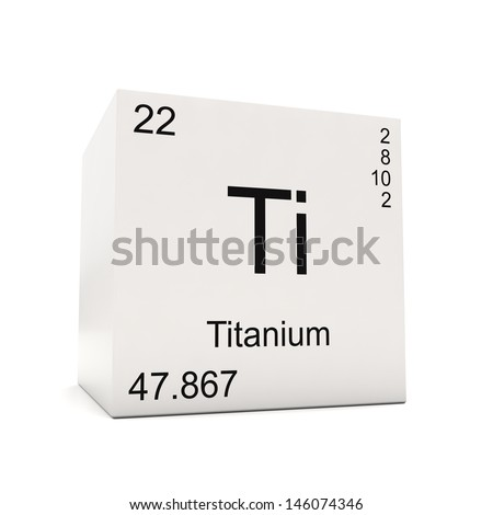 Cube Of Titanium   Element Of The Periodic Table Isolated On White  Background