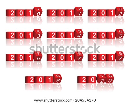 cube passing years 2011-2020 - stock photo