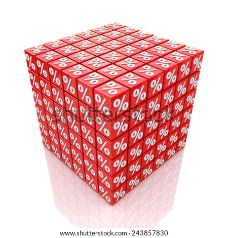 Cube percent  - stock photo