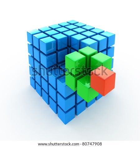 Cube puzzle 3d concept background isolated on white - stock photo