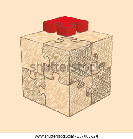 Cube Puzzle. Retro Style Sketch. Raster version - stock photo