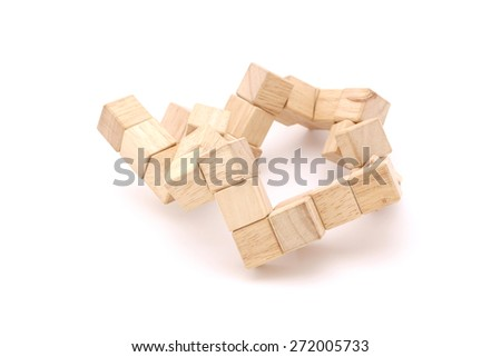 Cube puzzle wooden blocks isolated on white background