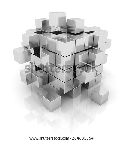 cube silver geometry abstract background design, 3d rendering - stock photo