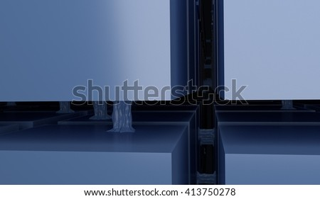cube structure links 3d render - stock photo