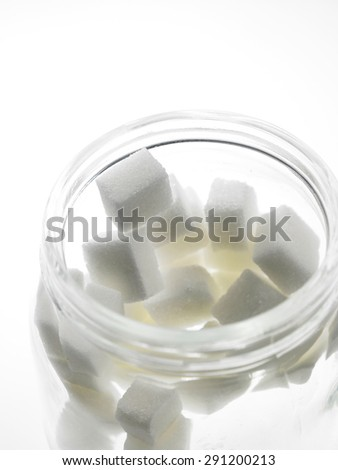 cube sugar in the  jar