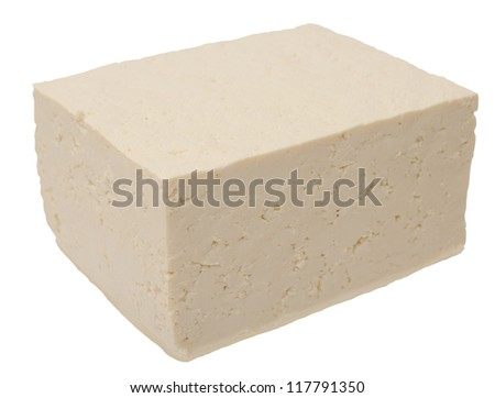 cube tofu isolated on white - stock photo