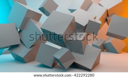Cube wallpaper box abstract geometric  3d design rendering