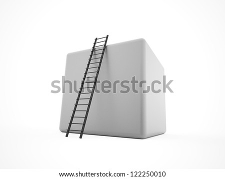 Cube with ladder concept isolated on white background - stock photo