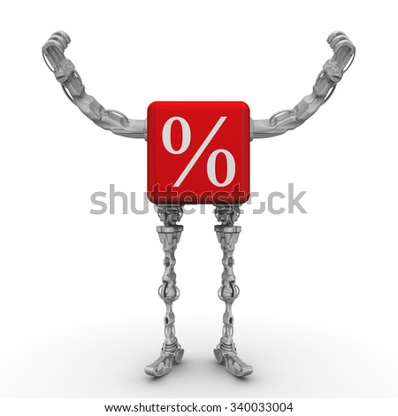 Cube with percent symbol in the form of a robot. Red cube with percent sign in the form of a robot (with feet and hands raised) standing on the white surface. The three-dimensional illustration - stock photo
