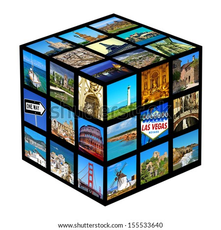 cube with pictures of different landscapes and landmarks, shot by myself - stock photo