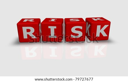 Cube word Risk in white and red - stock photo