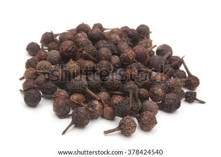 Cubeb pepper (Piper cubeba) on white background - stock photo