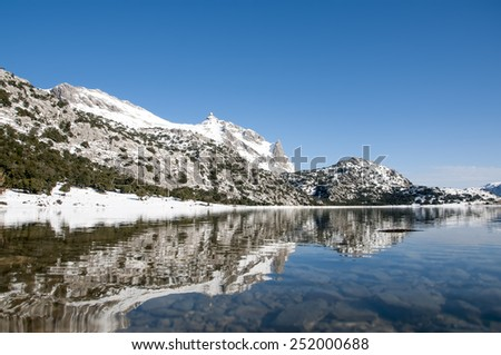 cuber water reservoir in the Tramuntana mountains in Majorca, Spain - stock photo
