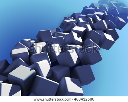 Cubes abstract background in blue
